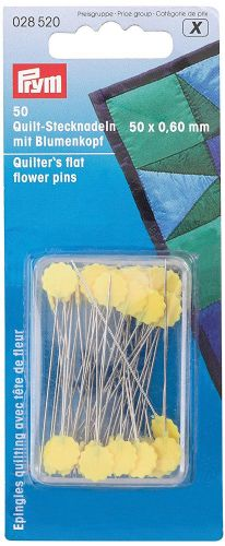 028520 Prym Quilter's Flat Flower Pins silver col / yellow 0.60 x 50 mm